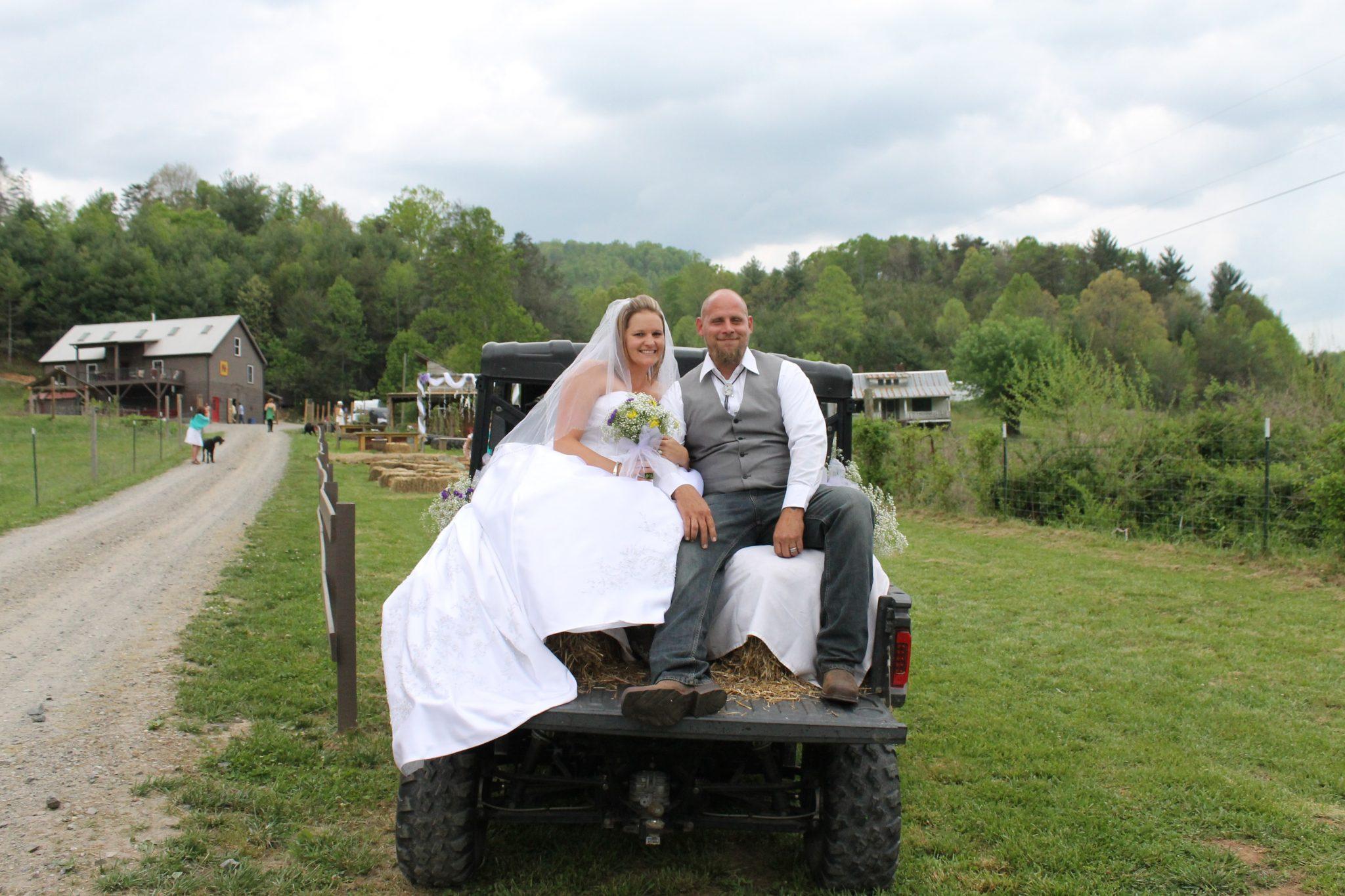 farm wedding chariot
