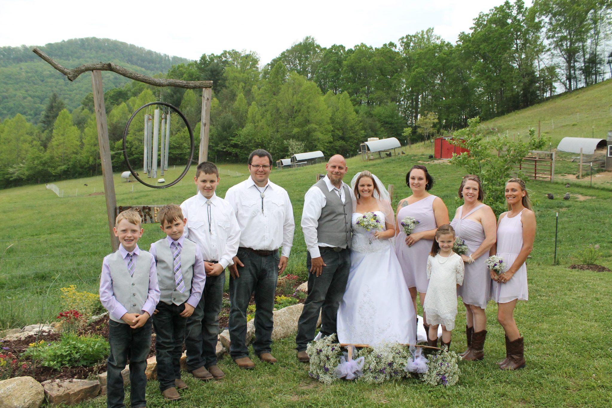 farm wedding party