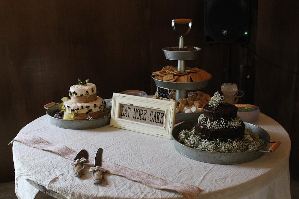 Farm wedding dessert table in Lecesiter, NC