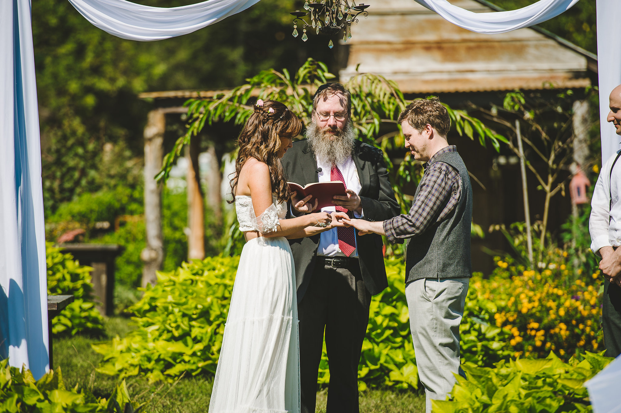 Summer farm wedding ceremony