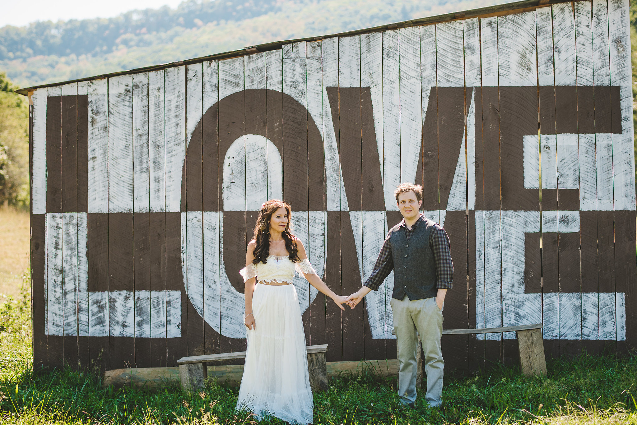 Summer farm wedding love barn