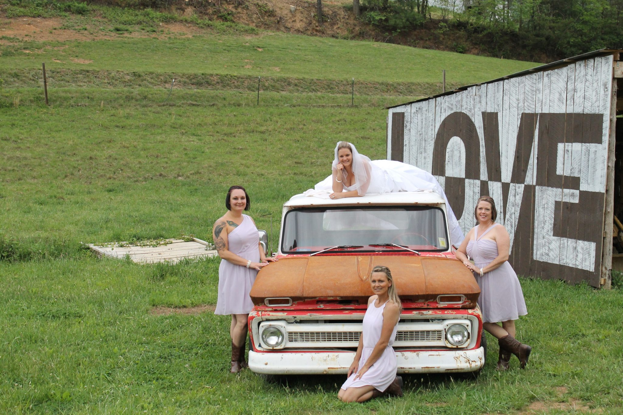 Farm wedding bridal party