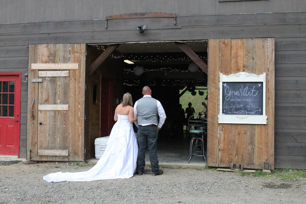 Farm wedding ceremony in Asheville, NC