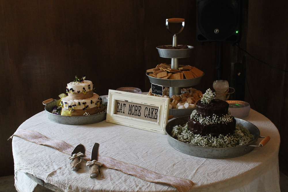 Farm wedding dessert table in Lecesiter, NC