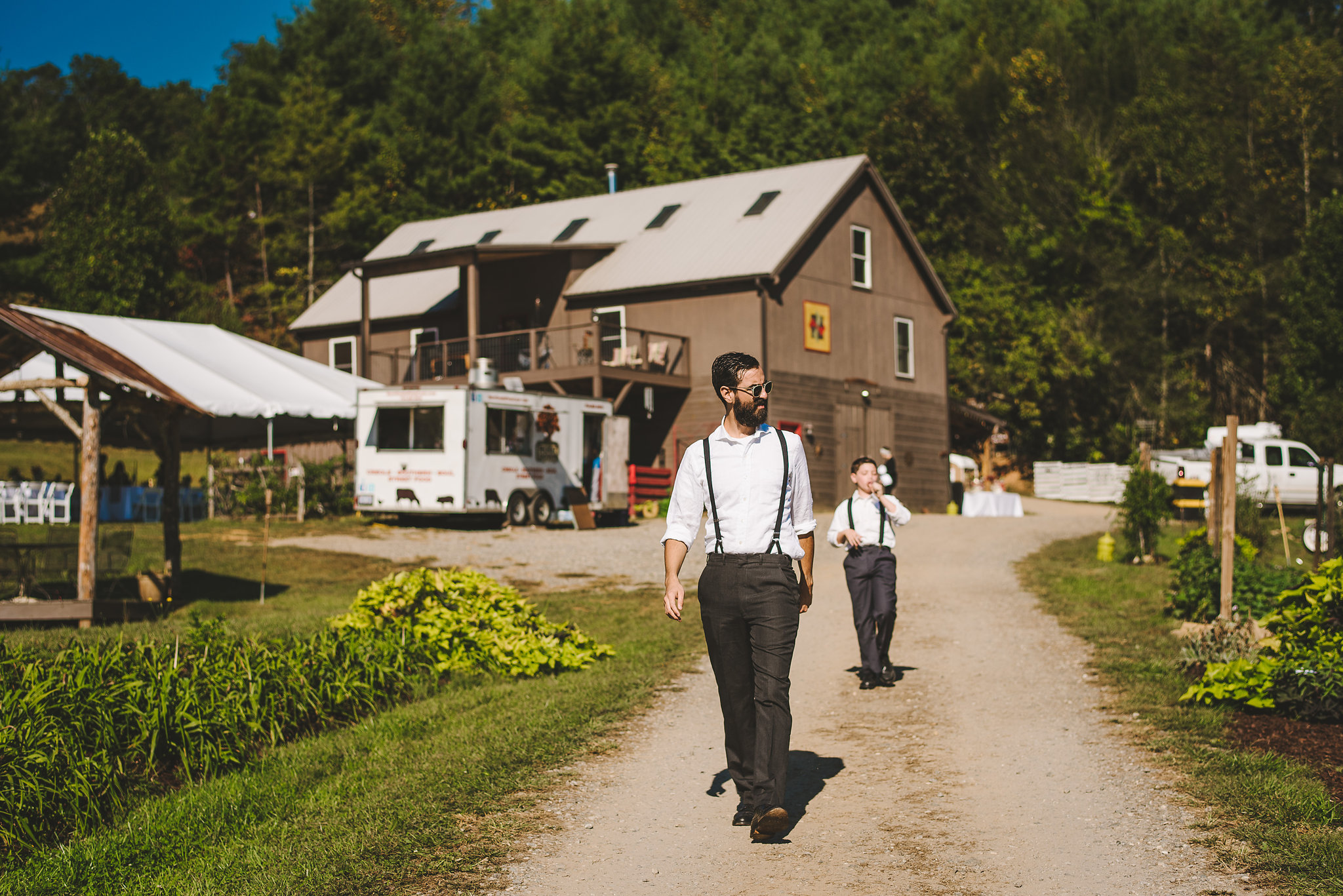 Summer farm wedding pre ceremony