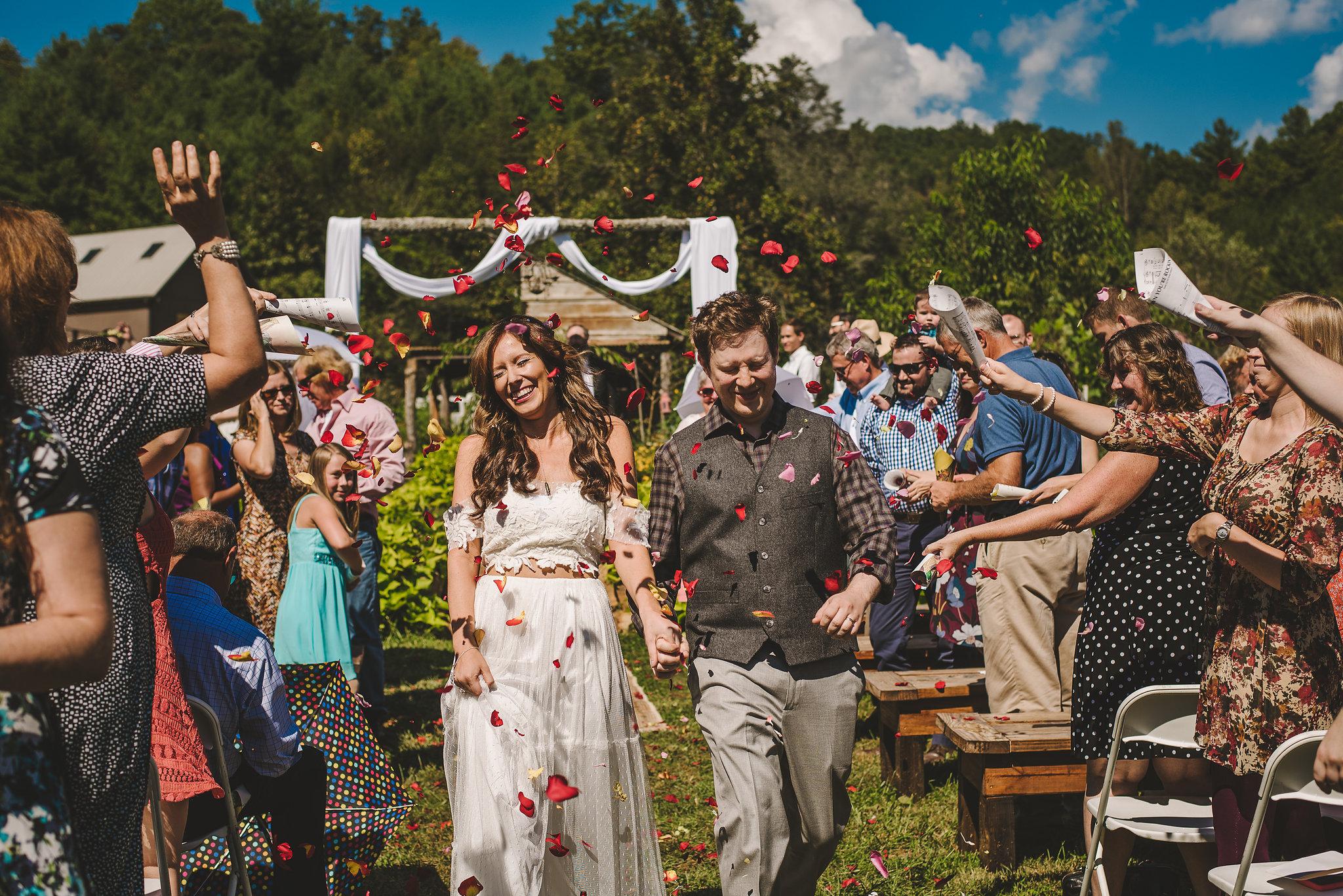 Summer farm wedding ceremony